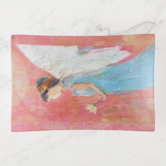 Angel child holding a daisy trinket trays
