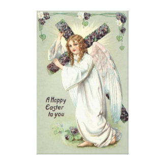 Angel Christian Cross Forget Me Not Canvas Print