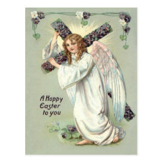 Angel Christian Cross Forget Me Not Postcard