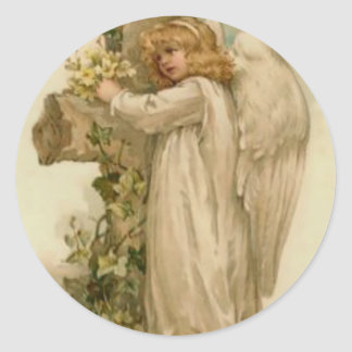 Angel Christian Cross Lily Leaf Classic Round Sticker
