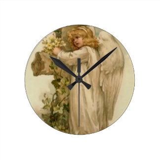Angel Christian Cross Lily Leaf Clocks