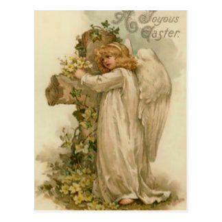Angel Christian Cross Lily Leaf Postcard