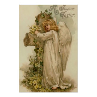 Angel Christian Cross Lily Leaf Poster
