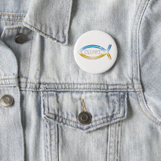 Angel Christian Fish Symbol Button
