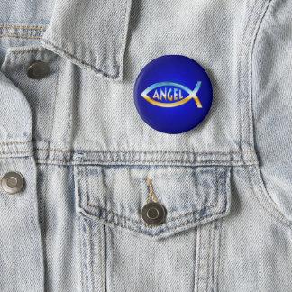 Angel Christian Fish Symbol Pinback Button