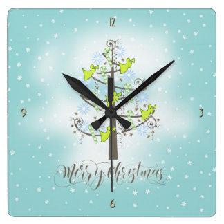 Angel Christmas Tree Blue ID197 Square Wall Clock