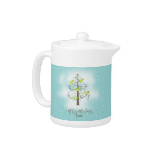 Angel Christmas Tree Blue ID197 Teapot