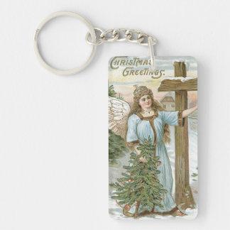 Angel Christmas Tree Cross Winter Cottage Keychain