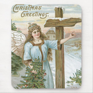 Angel Christmas Tree Cross Winter Cottage Mouse Pad