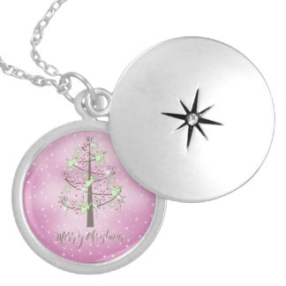 Angel Christmas Tree Orchid Pink ID197 Silver Plated Necklace