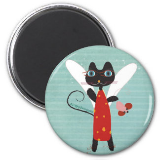 Angel circus mouse red dress dots blue magnet