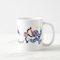 colorful, girl, illustration, pop, funny, cute, cool, vintage, heart, love, tribal, pretty, angel, luv, cap, happy, lovely, feminine, graphic, sweet, sweetheart, romance, pop art, Caneca com design gráfico personalizado