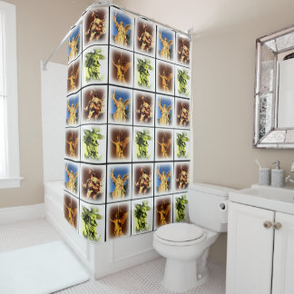 Angel collage print Shower Curtain