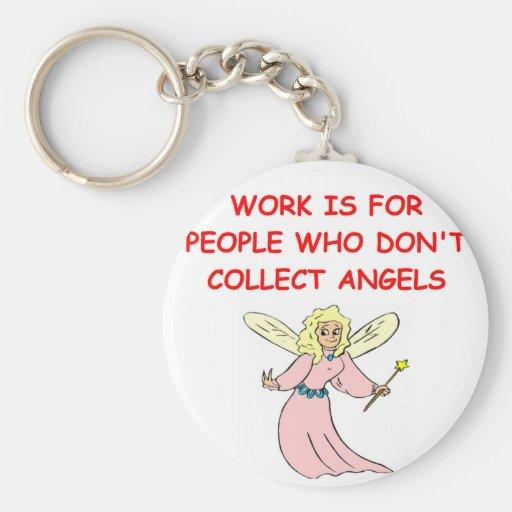 angel collector basic round button keychain