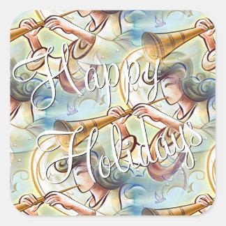 Ángel coloreado pastel con la trompeta pegatina cuadrada