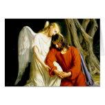 Angel Comforting Jesus in Garden Card
