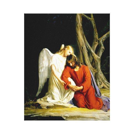Angel Comforts Jesus in the Garden Canvas Print