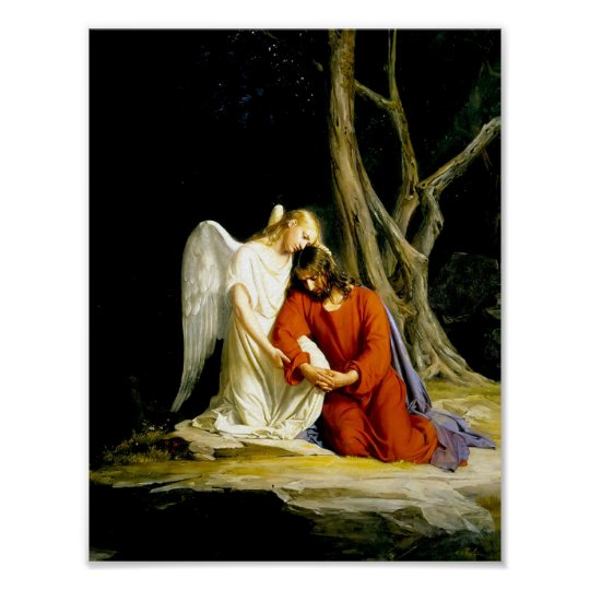 Angel Comforts Jesus in the Garden Poster