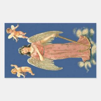 Ángel con el ancla de oro rectangular pegatina