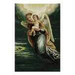 Ángel con el bebé Jesús Póster