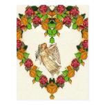 Ángel con el corazón de la hoja de palma y de los  postales
