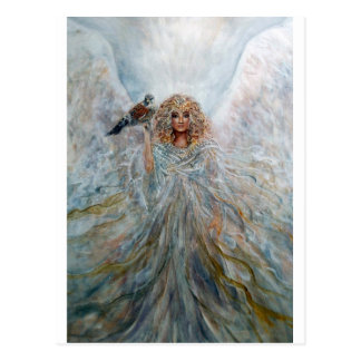 Ángel con el halcón para la buena fortuna tarjeta postal