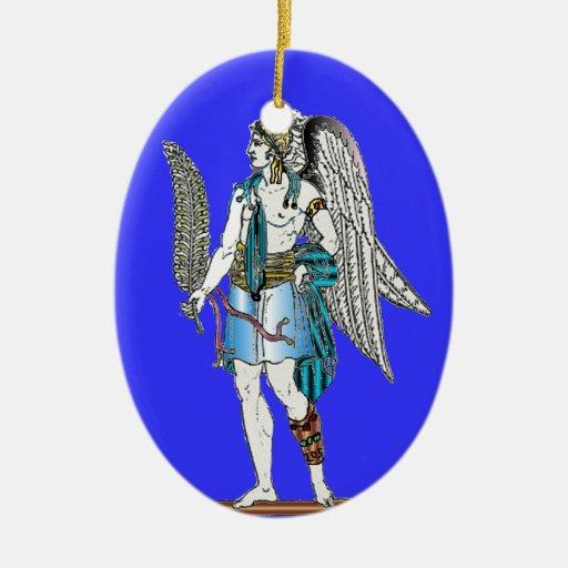 Ángel con el Helecho-Ornamento Adorno Navideño Ovalado De Cerámica