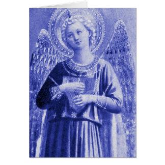 Ángel con el instrumento tarjeta de felicitación