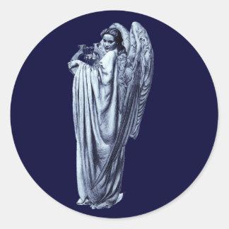 Ángel con el Lyre Pegatina Redonda