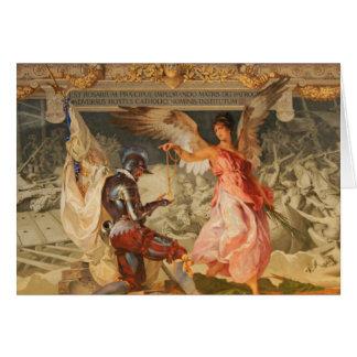 Ángel con el rosario tarjeta de felicitación