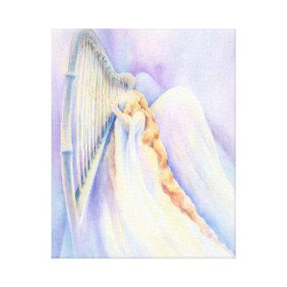 Ángel con la arpa impresión en lienzo