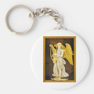 Ángel con la arpa y las alas de oro llavero