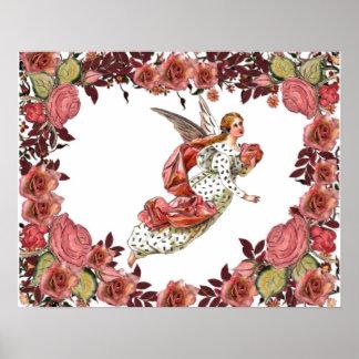 Ángel con la cinta y los rosas rosados poster