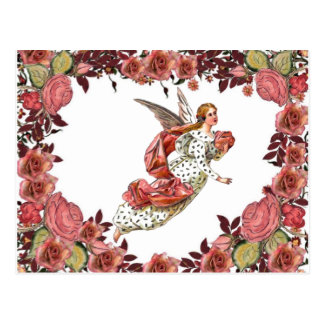 Ángel con la cinta y los rosas rosados postal