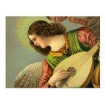 Ángel con la mandolina tarjetas postales
