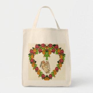Ángel con la palma y las flores bolsa tela para la compra