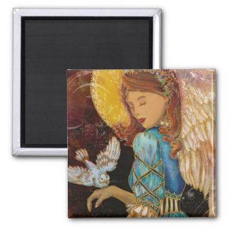 Ángel con la paloma imán cuadrado