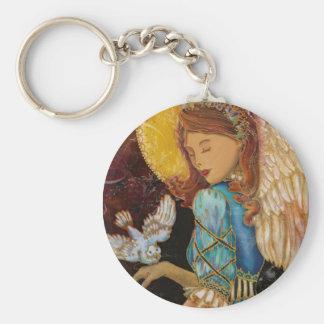 Ángel con la paloma llavero redondo tipo pin