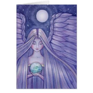 Ángel con la pequeña tarjeta de la tierra por Moll