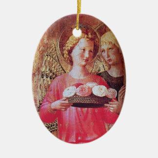 ÁNGEL CON la piedra de gema Amethyst del rosa de R Adorno
