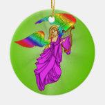 Ángel con las alas del arco iris ornamento para reyes magos