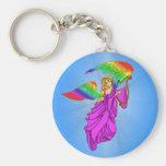 Ángel con las alas del arco iris llaveros