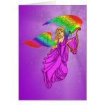 Ángel con las alas del arco iris tarjeta de felicitación