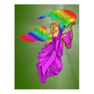 Ángel con las alas del arco iris postal