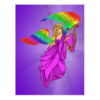 Ángel con las alas del arco iris postales