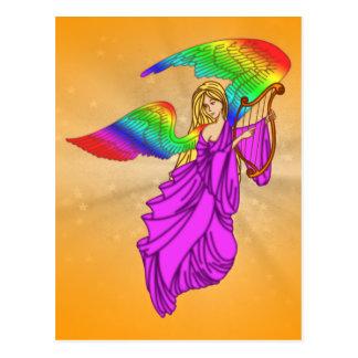 Ángel con las alas del arco iris tarjeta postal