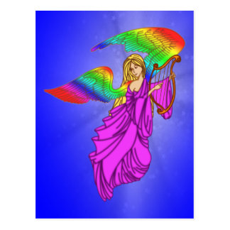 Ángel con las alas del arco iris tarjetas postales