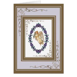 Ángel con las decoraciones púrpuras tarjeta de felicitación