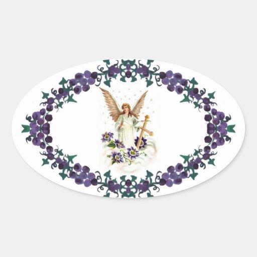 Ángel con las flores de la cruz y del Clematis Pegatina Ovalada