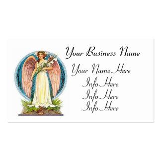 Ángel con las flores del lirio tarjetas de visita